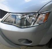 Хром накладки на передние фары для Mitsubishi Outlander XL (2007 - ...)