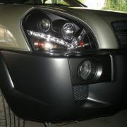 Передние фары черные (стиль Audi) для Hyundai Tucson (2004 - 2014)