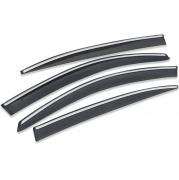 Дефлекторы дверей (ветровики) с хром молдингом для Volkswagen Passat B7 (2010 - 2015)