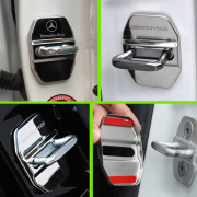 Накладки хром на петли замков дверей для Mercedes W220 (1998 - 2006)