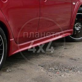 Накладки внешние на пороги Mitsubishi Lancer X (2007 - ...)