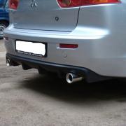 Накладка под задний бампер (губа) для Mitsubishi Lancer X (2007 - ...)