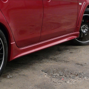 Накладки внешние на пороги для Mitsubishi Lancer X (2007 - ...)