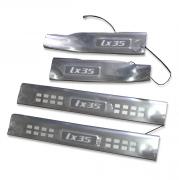 Накладки на пороги (неон, широкие) для Hyundai IX35 (2009 - 2015)