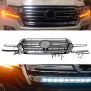Решетка радиатора с DRL габаритом и поворотами для Toyota Land Cruiser 200 (2015 - ...)