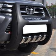 Кенгурятник высокий с пластиной и лого для Toyota Hilux (2015 - ...)