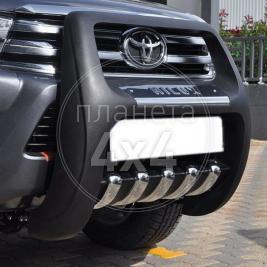 Кенгурятник высокий с пластиной и лого Toyota Hilux (2015 - ...)